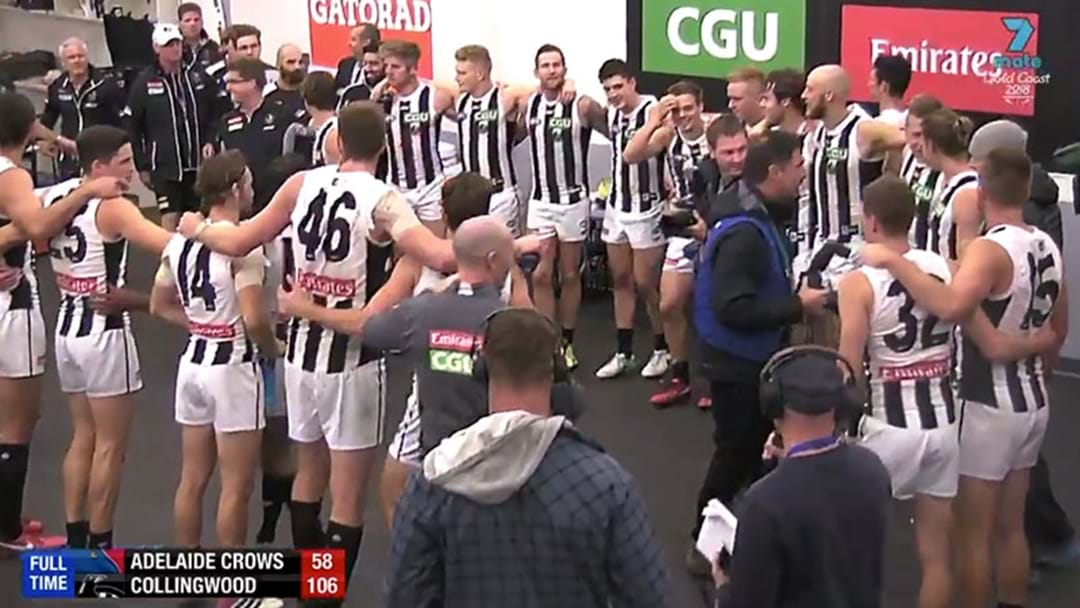 Scott Pendlebury Called All The Collingwood Staff In To Sing The Song After Their Win Over Adelaide