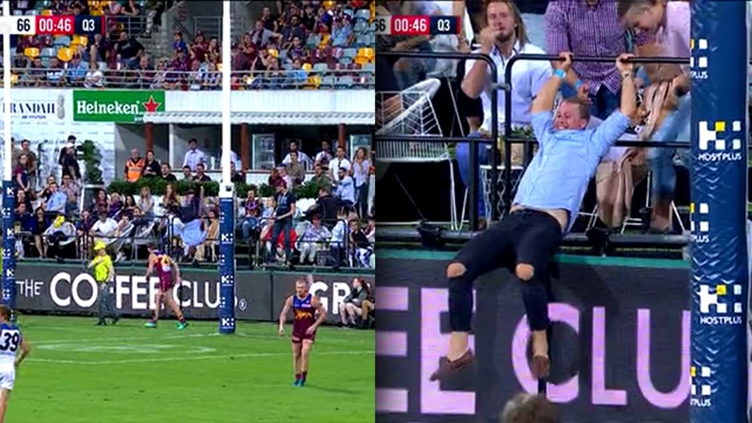 Some Bloke Just Front Flipped Onto The Gabba Turf Trying To Spoil The Ball