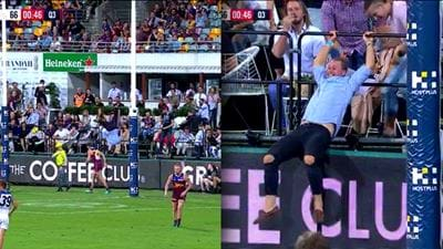 Bloke Front Flips Onto The Gabba Turf Trying To Spoil The Ball