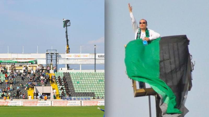 Turkish football fan hires crane after being banned from entering the stadium