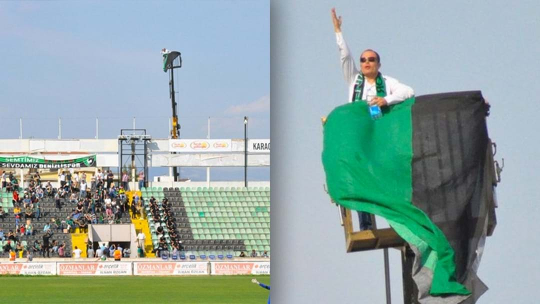 Bloke Gets Kicked Out Of Soccer Stadium, Hires Crane To Watch His Team Instead