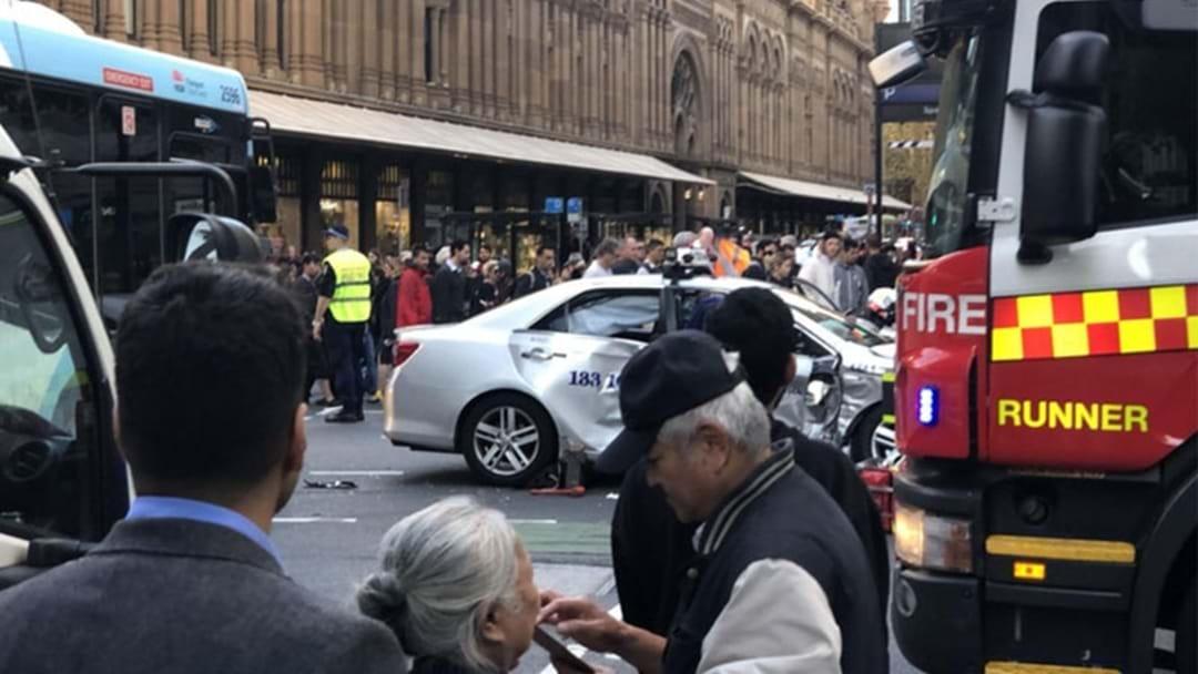 Bus And Taxi Crash In Sydney CBD
