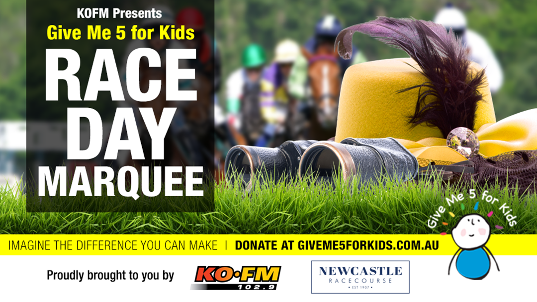KOFM's Give Me 5 For Kids Race Day Marquee