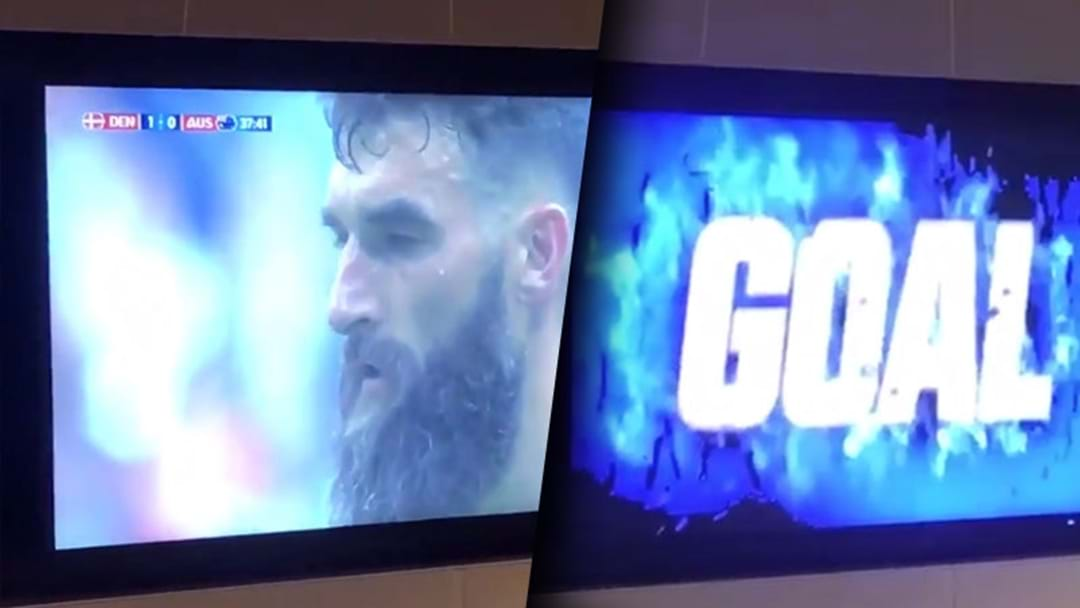 A West Coast Goal Graphic Played Over Mile Jedinak's Penalty On The Optus Stadium TVs On Thursday