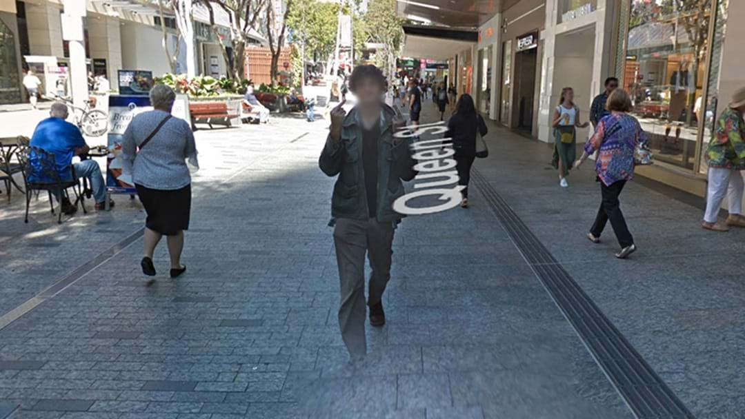 aussie bloke follows google street view camera flipping the bird