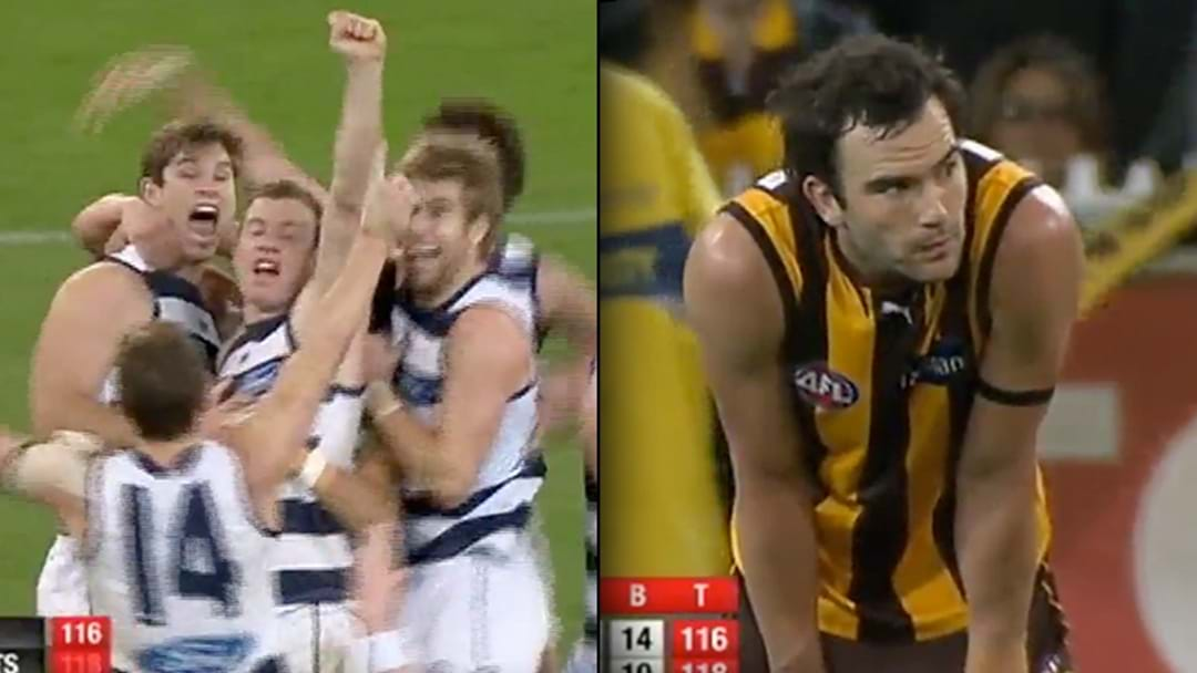 Triple M's Call Of Tom Hawkins' Goal After The Siren Against Hawthorn In 2012