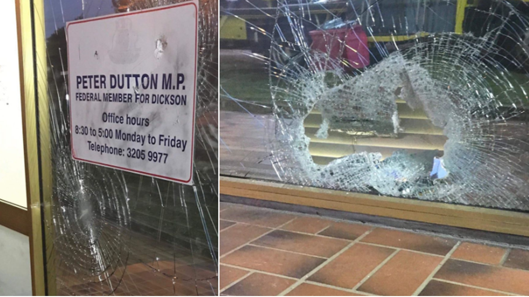 Bricks Thrown Through Peter Dutton's Brisbane Office