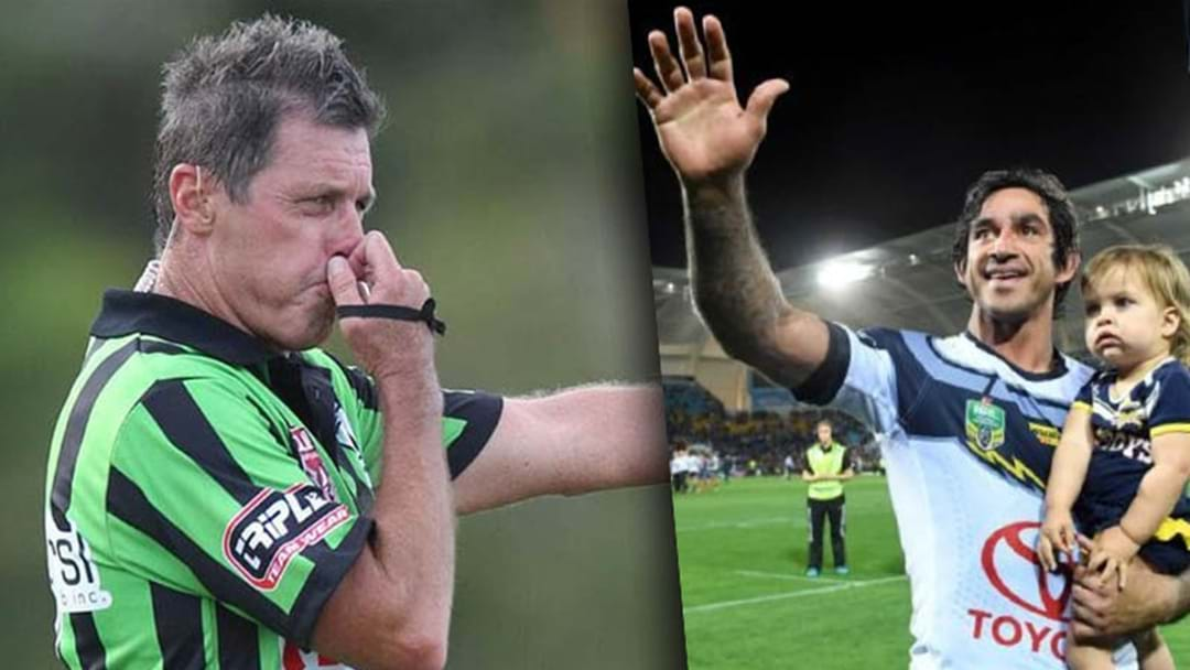 Bill Harrigan Believes The NRL Referees Boss Missed A Historic Opportunity During Johnathan Thurston's Farewell