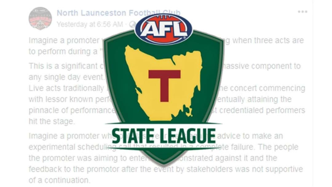 North Launceston Football Club hits out at Women's Footy Finals
