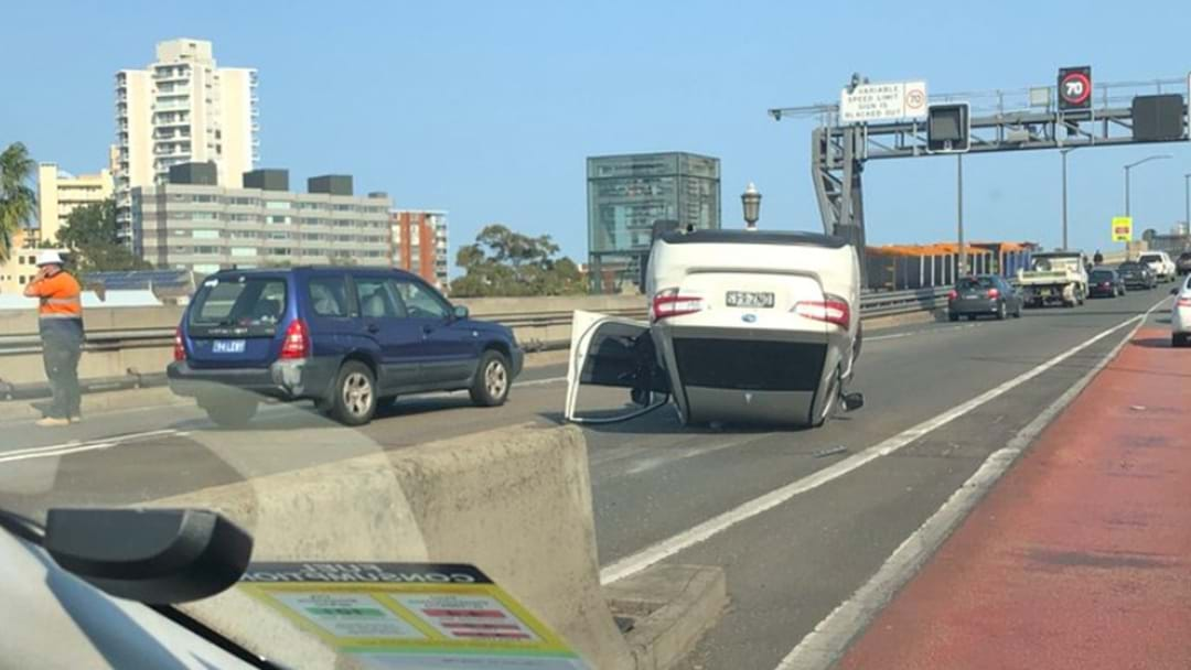 Emergency Services Responding After Car Rollover On Sydney Harbour Bridge