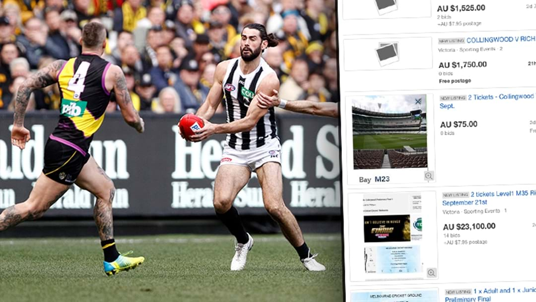 Richmond/Collingwood Tickets Are Being Flogged On eBay For Thousands Of Dollars