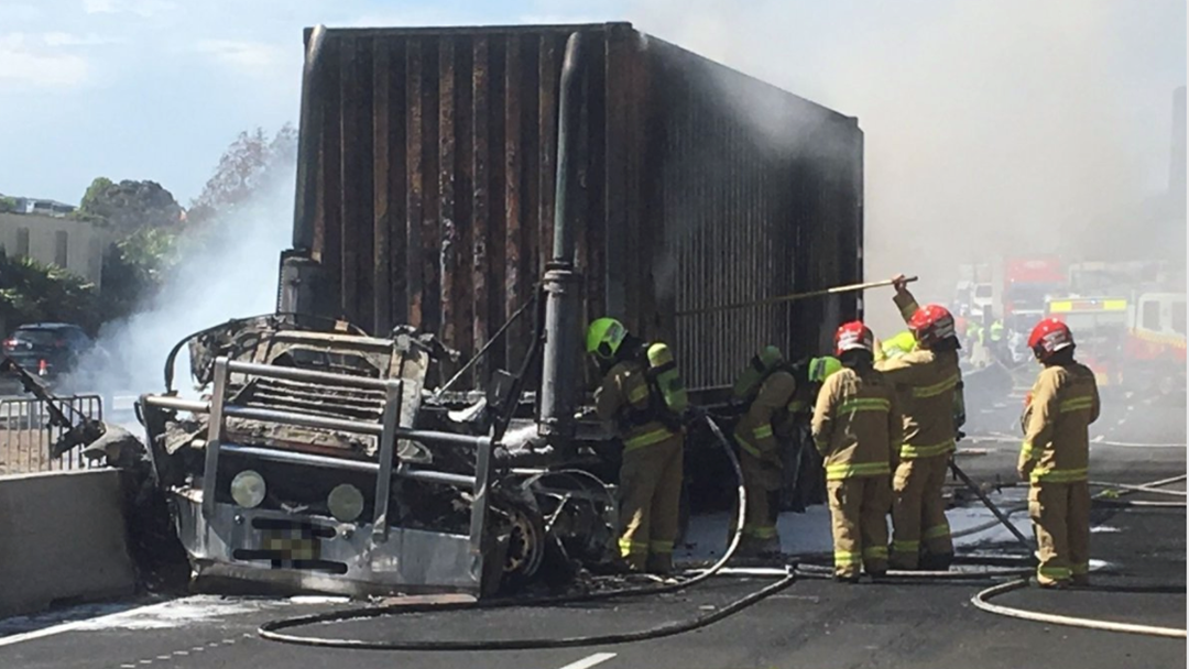 M5 Truck Fire Closes Westbound Lanes