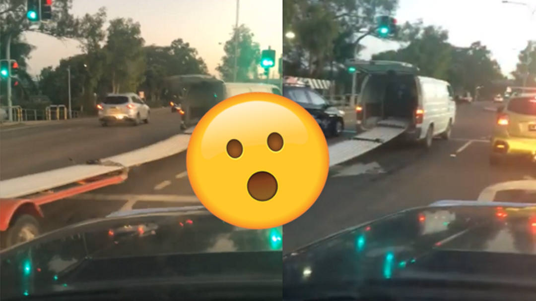 Video Of Townsville Van Towing Sheet Metal Goes Viral For All The Wrong Reasons