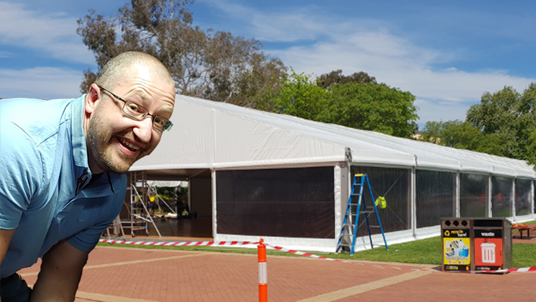 Matt Sneaks Into The Giant Marquee At QE2 (sort of)...
