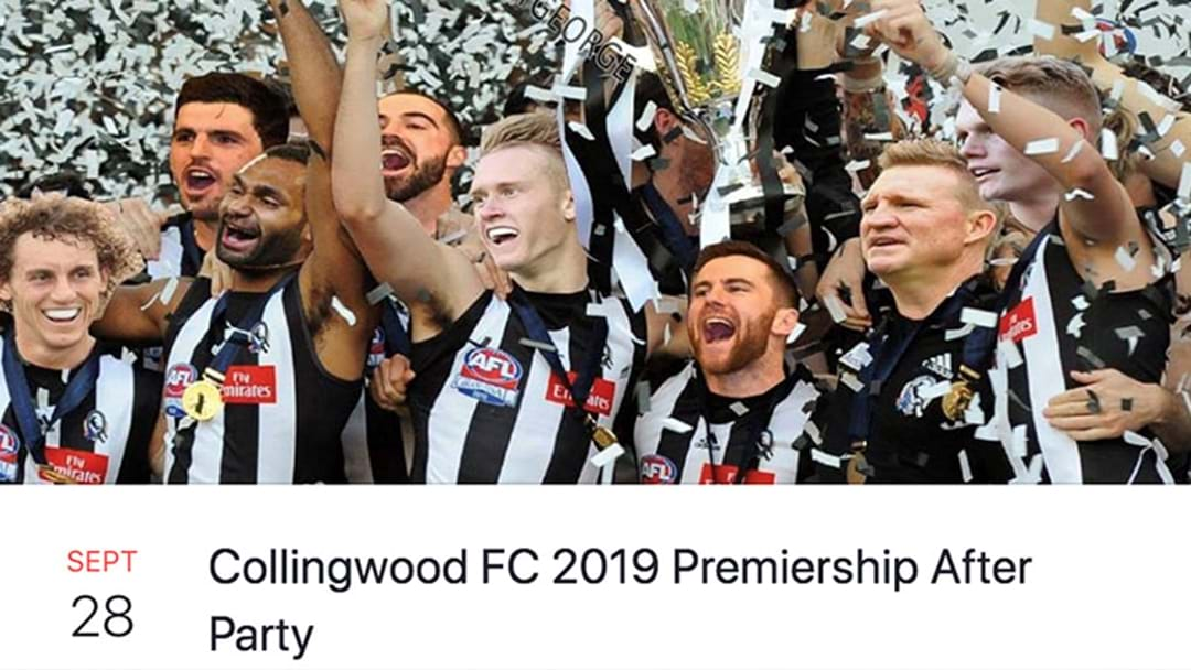 Some Collingwood Fans Are Already Planning The 2019 Premiership After Party