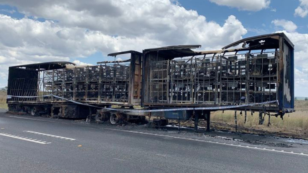 An Aus Post Delivery Truck Goes Up In Flames On The Capricorn Hwy