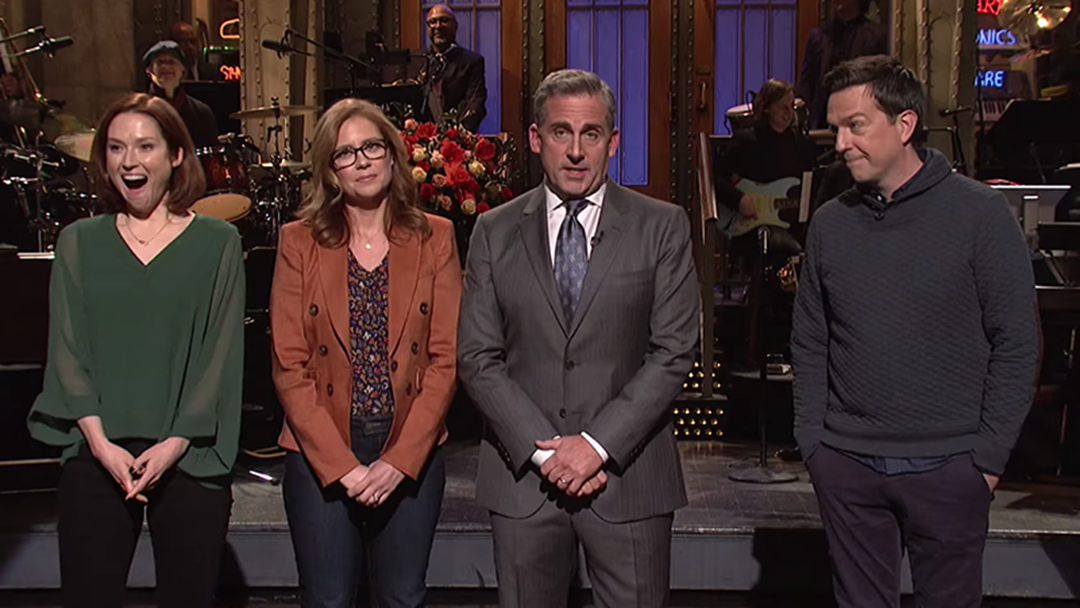The Cast Of The Office US Hid Themselves In The SNL Crowd To Ask Steve Carell To Reboot The Series