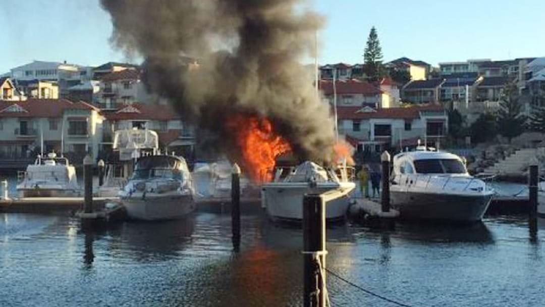 Boat Ablaze At Mindarie Marina