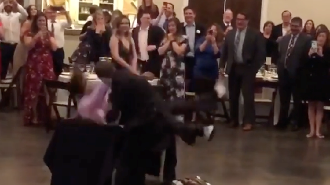 """Groom Lives Out WWE Fantasy By Slamming His Wife's """"Ex"""" Through A Table At Their Wedding Reception"""