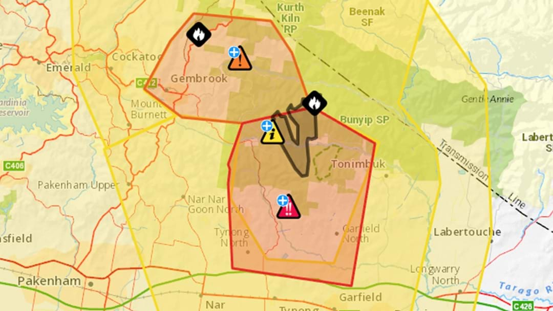 Emergency Warning For Multiple Out Of Control Bushfires In Bunyip State Park