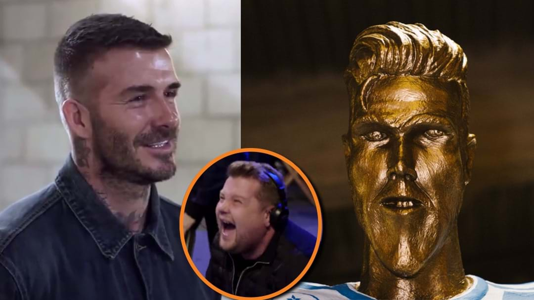 """Look How Long My Arms Are!"" David Beckham Just Got Stitched-Up With A Cristiano Ronaldo-esque Statue"