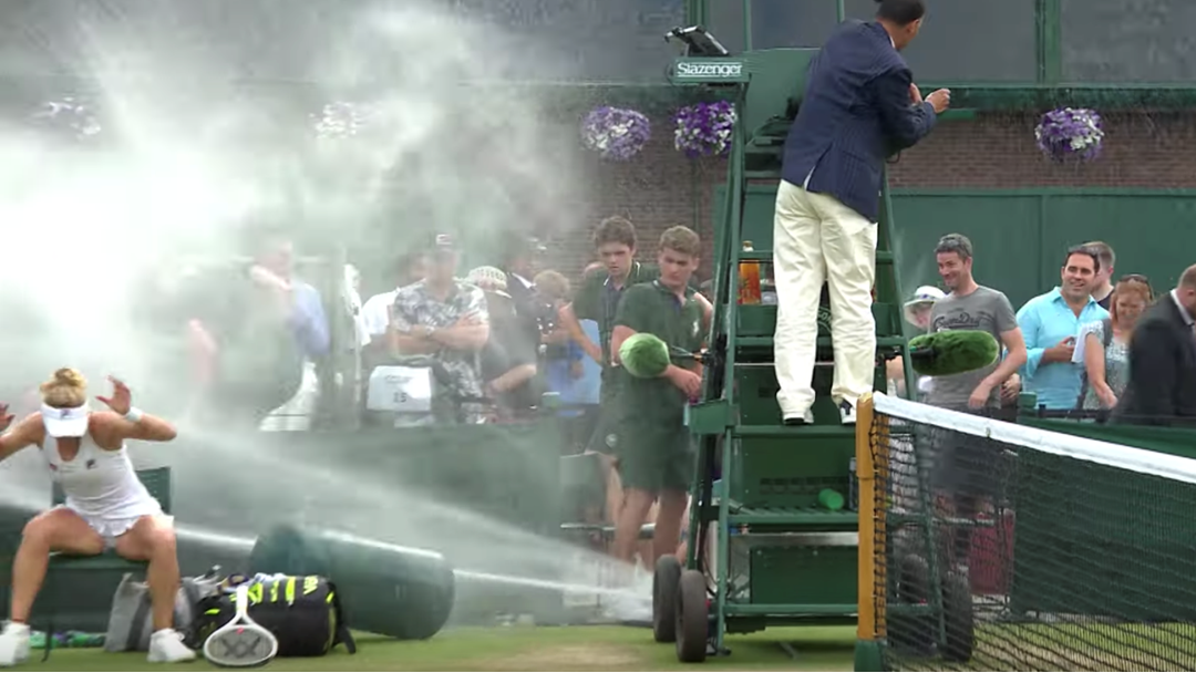 Tennis Players Literally Cop A Spray After Sprinkler System Goes Rogue At Wimbledon